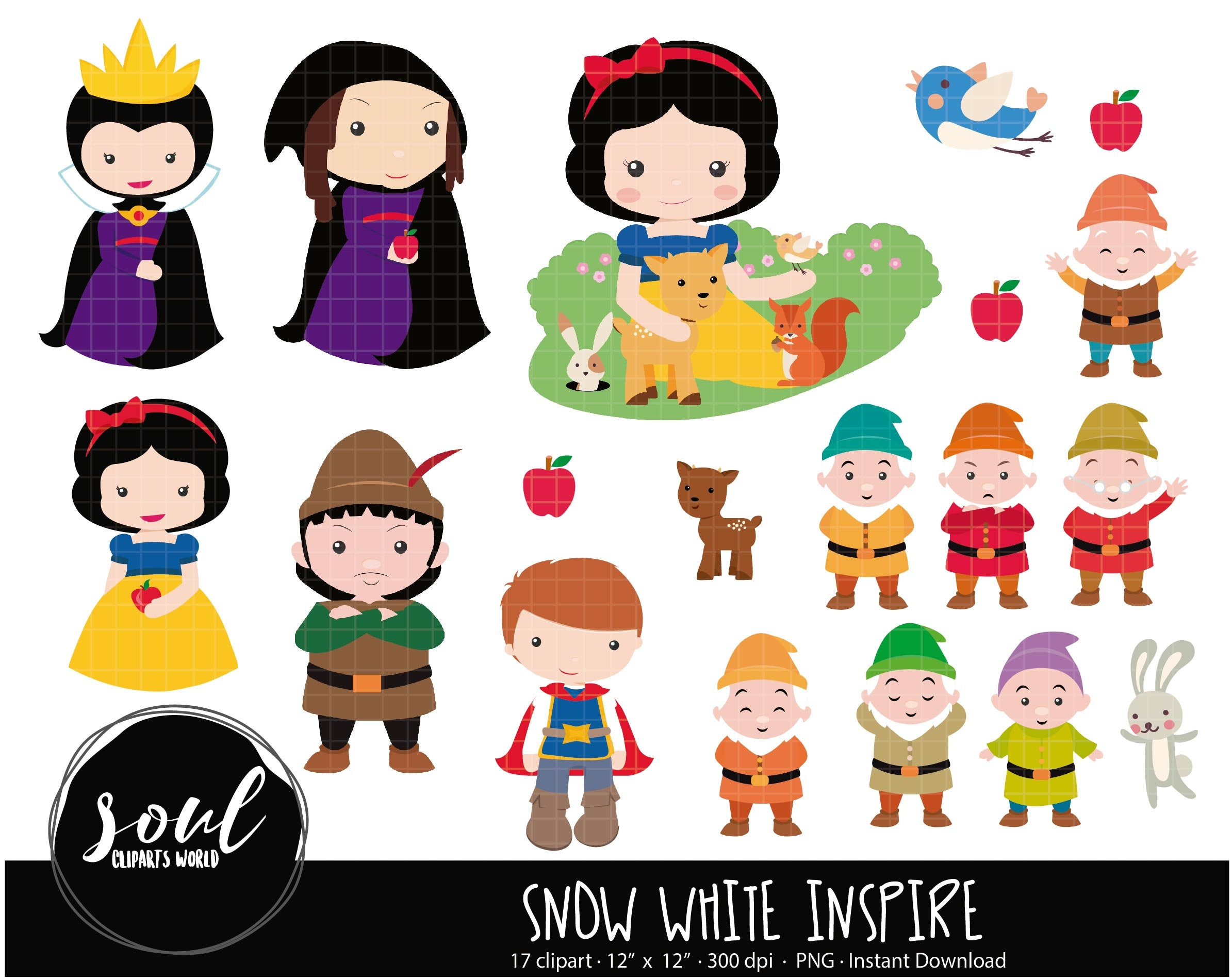 COD456-Snow white clipart/disney inspired cliparts ...