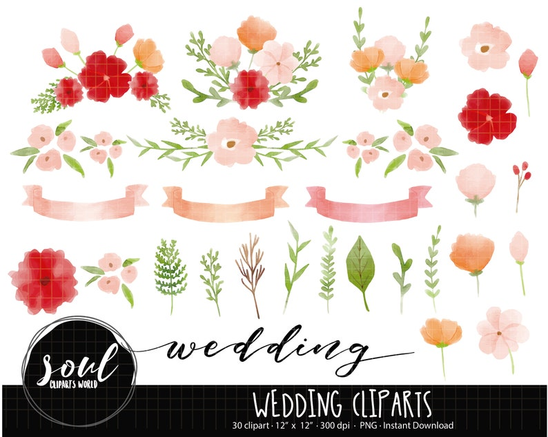 COD750-Wedding clipartflowers clipartsplants clipartCommercial useClipart SetVector ClipartINSTANT DOWNLOAD