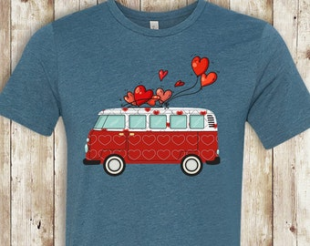 151110d66 FREE SHIPPING VW Bus Valentine tee, Heather Teal Bella Brand, gift, funny  tshirt, super soft premium shirt, vw bus fan gift, hippie gift