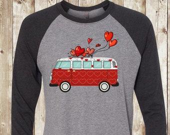 999c0693 FREE SHIPPING, VW Bus Valentine Tee, Heather Gray with Black Sleeves Raglan  3/4 Sleeve, Next Level brand, gift, super soft premium shirt