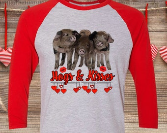 37caa893 FREE SHIPPING, Hogs & Kisses Pig Valentine Shirt, Raglan 3/4 Sleeve,  American Apparel brand, gift, super soft premium shirt