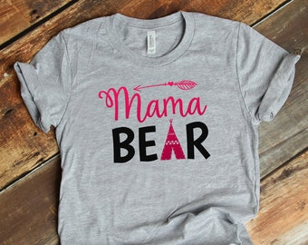 1684d00d3 FREE SHIPPING, Mama Bear with TeePee & Arrow Tee, Athletic Gray tee shirt,  Bella Brand, Mother's day gift, gift for mom, soft premium shirt