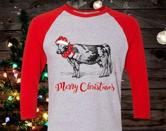 67470f7e2 FREE SHIPPING, Hipster Cow Merry Christmas, Raglan 3/4 Sleeve, American  Apparel brand, gift, super soft premium shirt