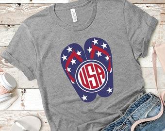 0bbbb065 FREE SHIPPING American Flag Flip Flops, USA, 4th Of July , Heather Grey tee,  Bella Brand, super soft premium shirt