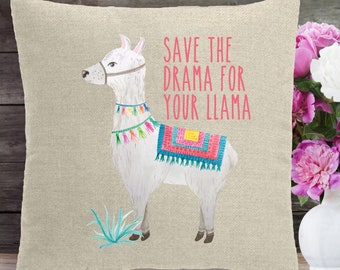 10245f3934833 FREE SHIPPING, Save The Drama for Your Llama throw pillow, great for for  anyone who likes Llamas, soft faux linen, birthday gift