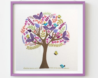 Folk Tree Stitchery Hand embroidery Kit, Pre printed embroidery fabric, hand embroidery supplies, choose the kit that suits you
