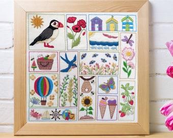 Hand embroidery pattern, Summer Splendour, pdf Embroidery Pattern , Embroidery Sampler, nature embroidery, modern embroidery, wildlife