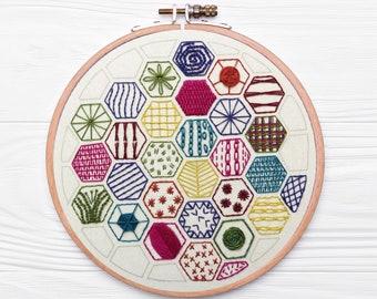 Hexagon Sampler Starter Kit for Hand Embroidery, Pre printed embroidery fabric, hand embroidery kit with supplies, Learn Hand Embroidery kit