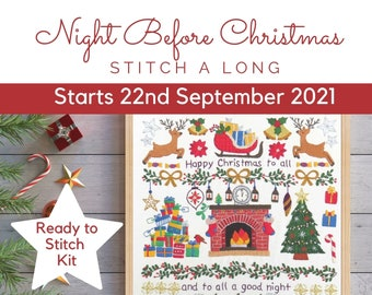 Night Before Christmas Stitch A Long Hand Embroidery Kit, STARTS September 22nd 2021, Christmas embroidery pattern, Christmas embroidery kit