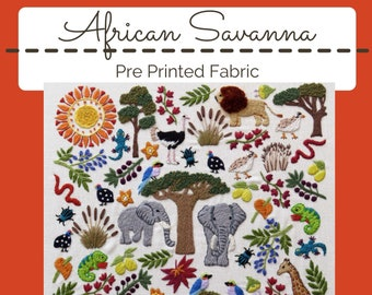 Stitch Flora Pre Printed Fabric Panel PLUS PDF Pattern colorful embroidery Embroidery Sampler modern embroidery