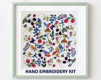 Birds, bugs and Berries hand embroidery Kit, Pre printed embroidery fabric, hand embroidery supplies, choose the kit that suits you