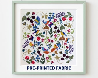 Birds, Bugs & Berries, Pre Printed Fabric Panel PLUS PDF Pattern, hand embroidery pattern
