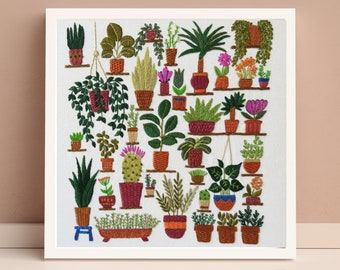 Plantopia, Pre Printed Fabric Panel PLUS Pattern, hand embroidery pattern, plant embroidery, houseplant embroidery