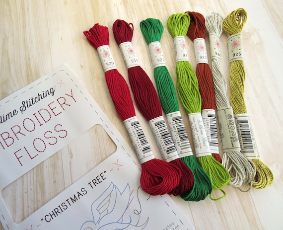 Christmas Pallete Embroidery Thread by Sublime Cotton Floss 7 Skeins Pack Embroidery Floss Christmas Tree Sublime Stitching