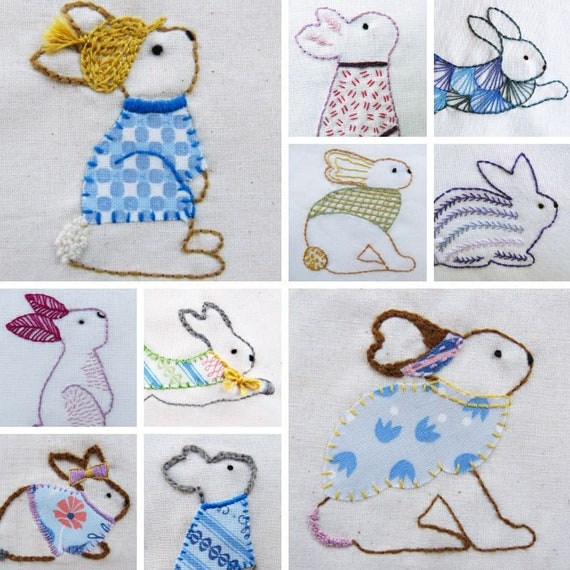 Hand Embroidery Pattern, Rabbits Embroidery Pattern pdf, woodland  creatures, nature embroidery, bunny pattern, beginner embroidery