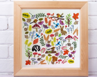 A walk in the Woods, Pre Printed Fabric Panel PLUS Pattern, hand embroidery pattern