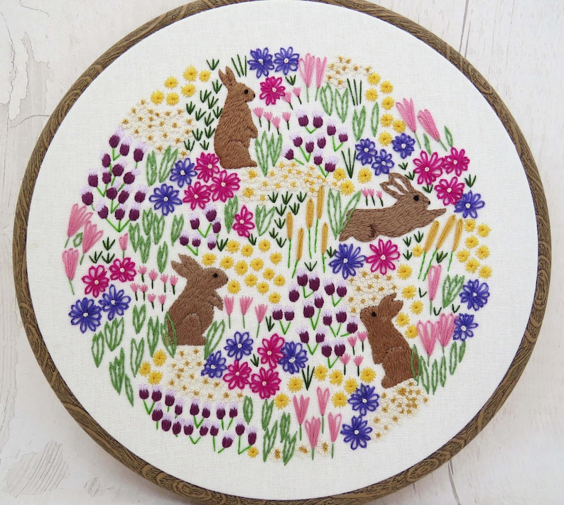 WildFlowers and Rabbits Hand Embroidery PDF Pattern flower image 0