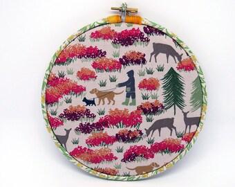 Memo Board, Hoop Art Decoration - Field Friends fabric , Pin Board, wall art