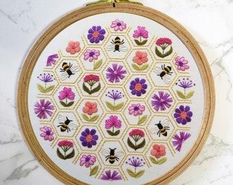 Flower Hive hand embroidery Kit, Pre printed embroidery fabric, hand embroidery supplies, Embroidery Hoop Art