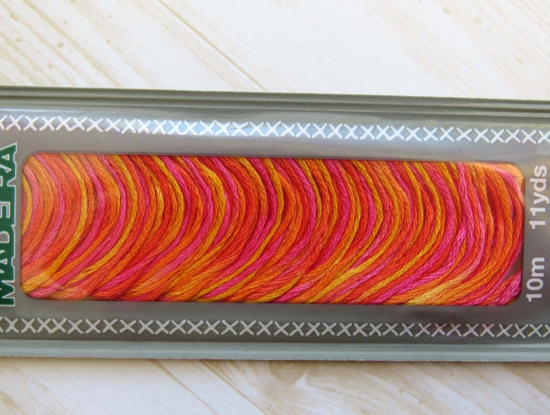redyellow colourway called Coral Fish. Hand Embroidery Thread Embroidery Floss Madeira Mouline 6 Stranded Egyptian Cotton