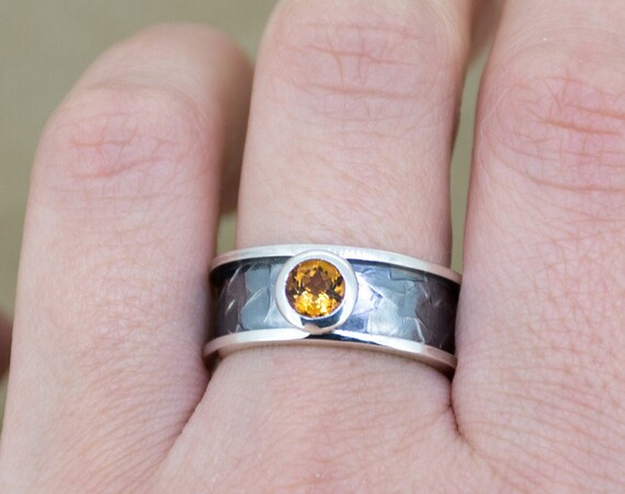 Orange citrine ring | Citrine engagement ring | Oxidized silver ring | November birthstone