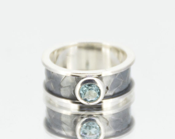 Sky Blue Topaz Ring | Hammered Silver Ring | Oxidized Silver Ring | December Birthstone