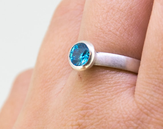 Swiss Blue Zircon Silver Ring | Zircon Engagement Ring |