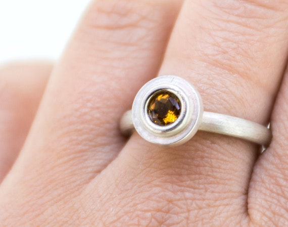 Yellow Citrine Silver Engagement Ring | November Birthstone Silver Ring