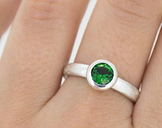 Green Zircon Silver Ring | Zircon Engagement Ring | December Birthstone Ring