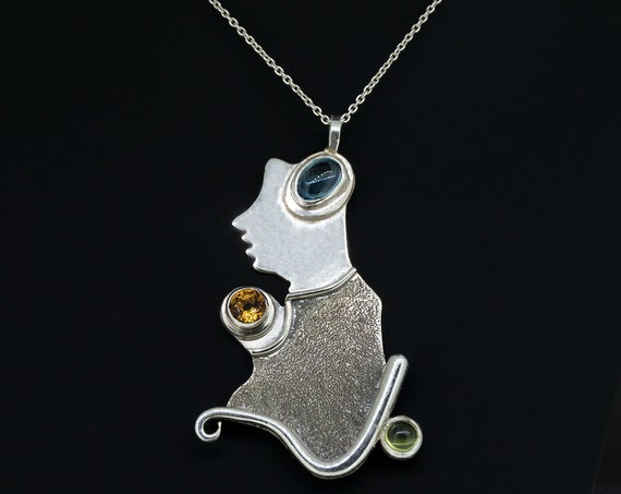 Human Silhouette Pendant with Blue Topaz, Peridot and Citrine