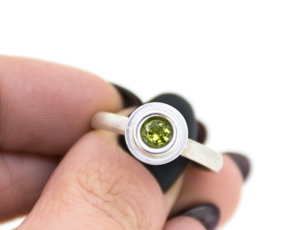 Green Peridot Silver Engagement Ring | August Birthstone Silver Ring