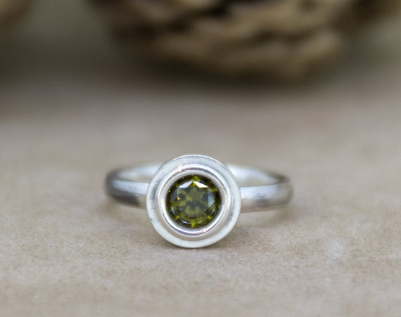 Olive Green Zircon Silver Ring | Green Solitaire Ring | Simple Engagement Ring