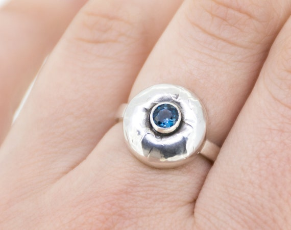 London Blue Topaz Ring, Flower Silver Ring, Textured Silver Ring