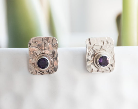 Purple Amethyst Rectangle Earrings, Silver Amethyst Stud Earrings, Artisan Earrings