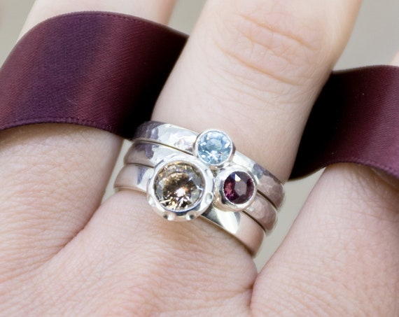Sterling Silver Stacking Rings Topaz Garnet Zircon