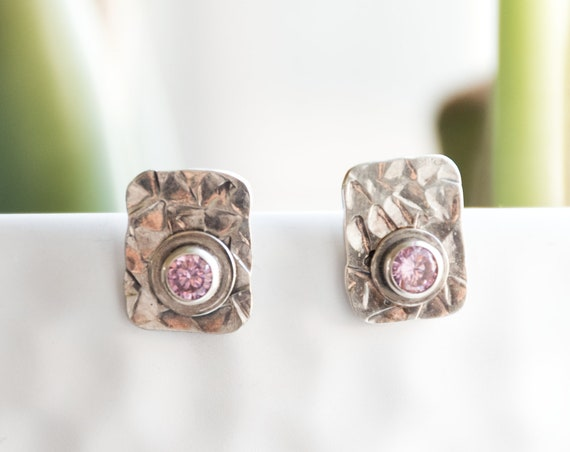 Unique Sterling Silver Pink Zircon Earrings