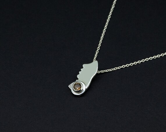 Minimalist Brown Andalusite Silver Pendant