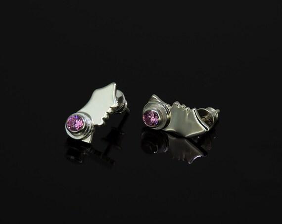 Unique Little Sterling Silver Pink Zircon Studs