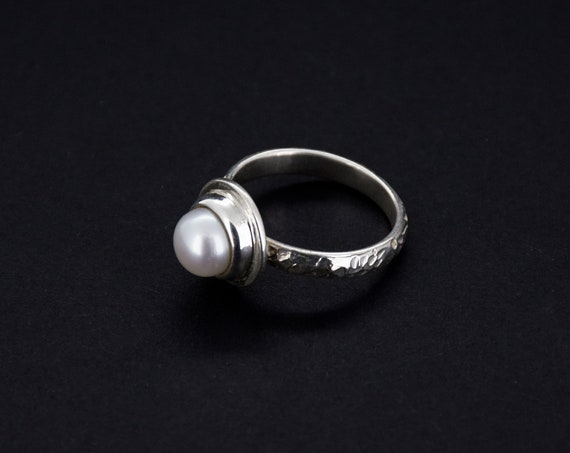 Minimal Textured Sterling Silver Pearl Engagement Ring