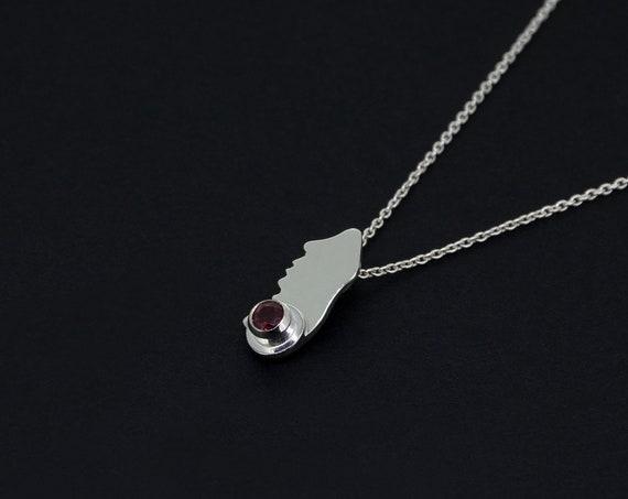 Minimalist Red Garnet Silver Pendant