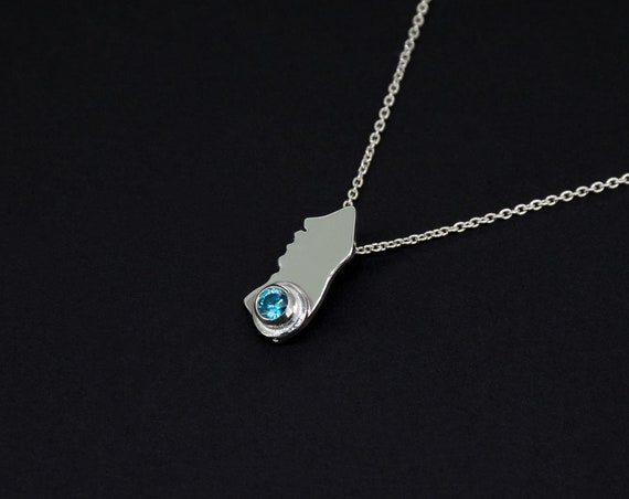 Minimalist Blue Zircon Silver Pendant