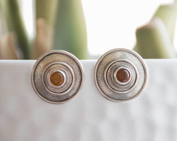 Amber Silver Earrings, Round Amber Studs, Amber Stud Earrings, Pagan Style Earrings