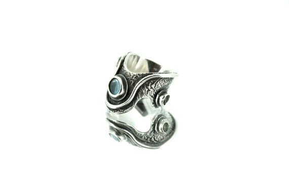 Blue Topaz Silver Ring, Artisan Ring, Peridot Ring, Oxidised Silver