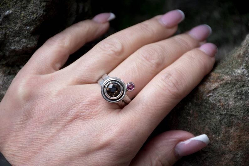 Rhodolite Garnet Ring Smoky Quartz Engagement Ring Handmade Silver Ring