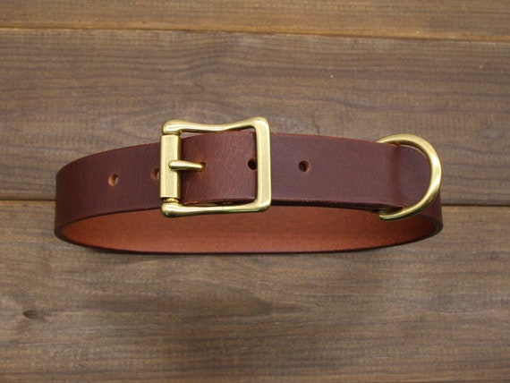 1 Classic Full Grain Leather Dog Collar 10 color options