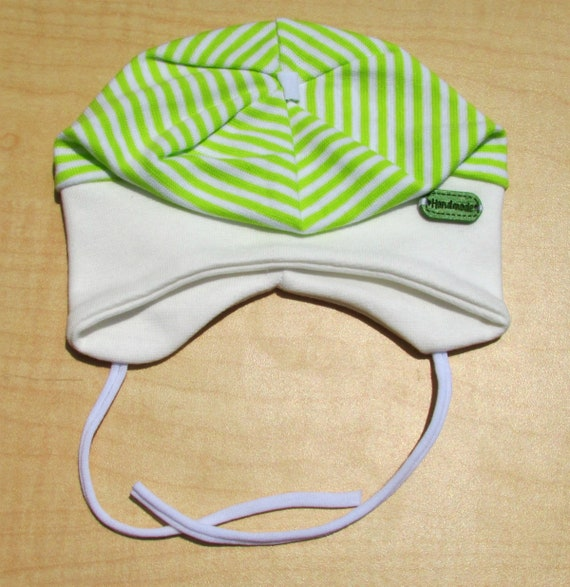Infant Baby Boy Spring Autumn Cotton Stripy Hat Cap With Strings 1-3 Months