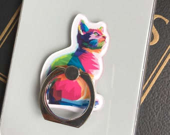 Cat Lover Gifts, Cat Accessories, Colourful Cat Phone Ring,  Cat Phone Grip