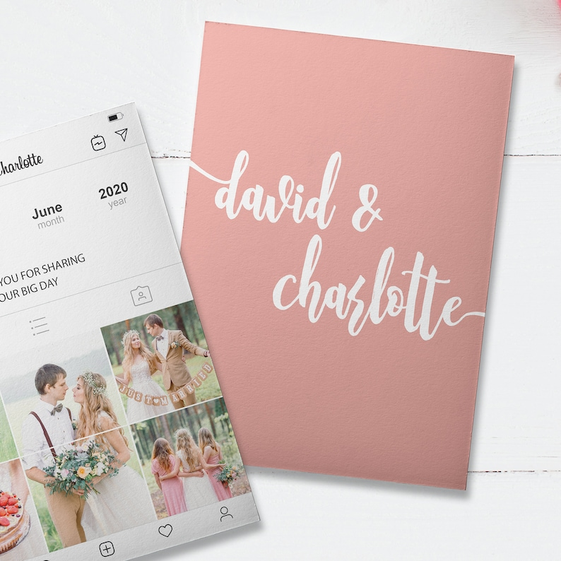 Pink Personalized Instagram Thank You Cards Custom Insta Story Board Cards Social Media Wedding Cards PRINTED