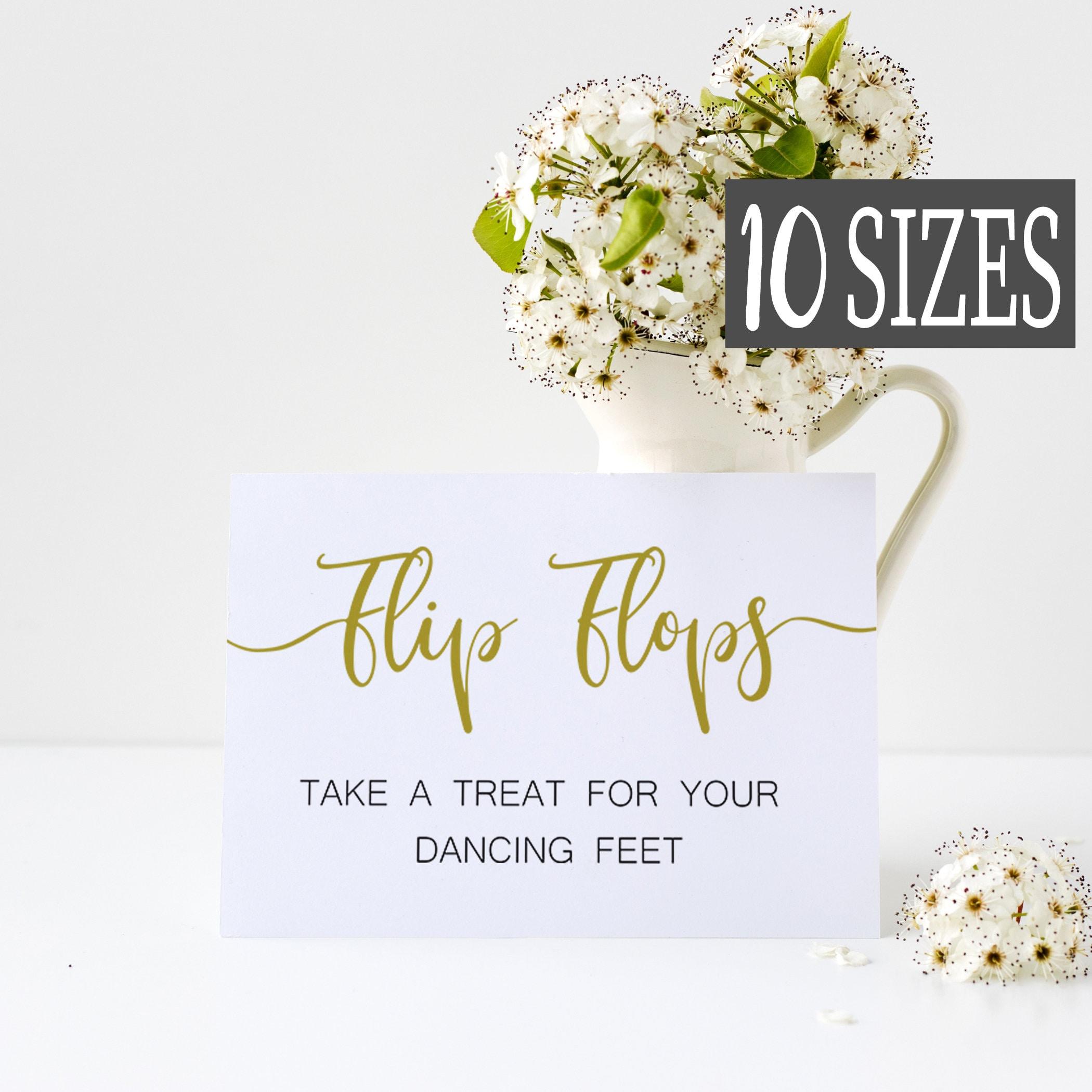 d3cd7052e9d4 Gold Flip Flops Wedding sign