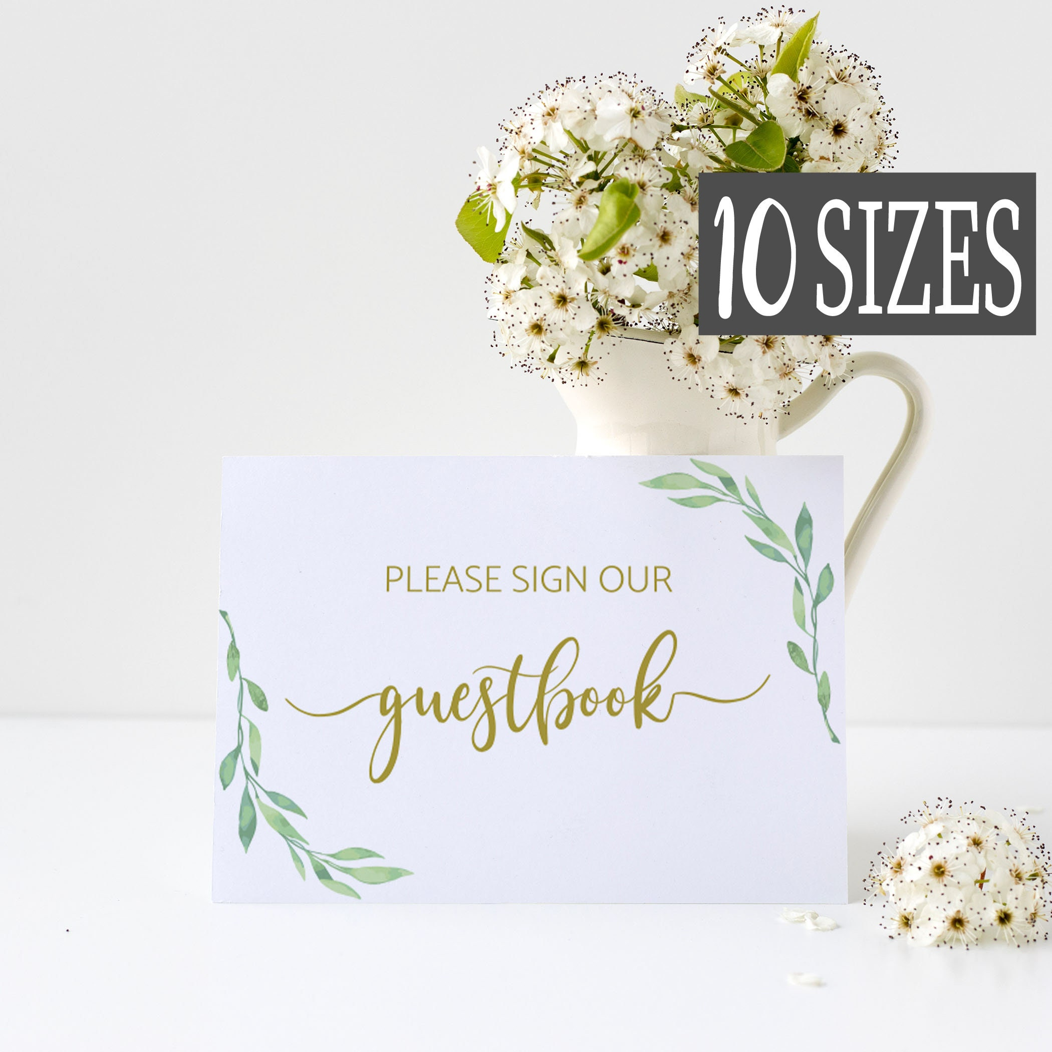 43f2bb91680aa Gold Wedding Guestbook Sign, Greenery Wedding Guest Book Signs ...